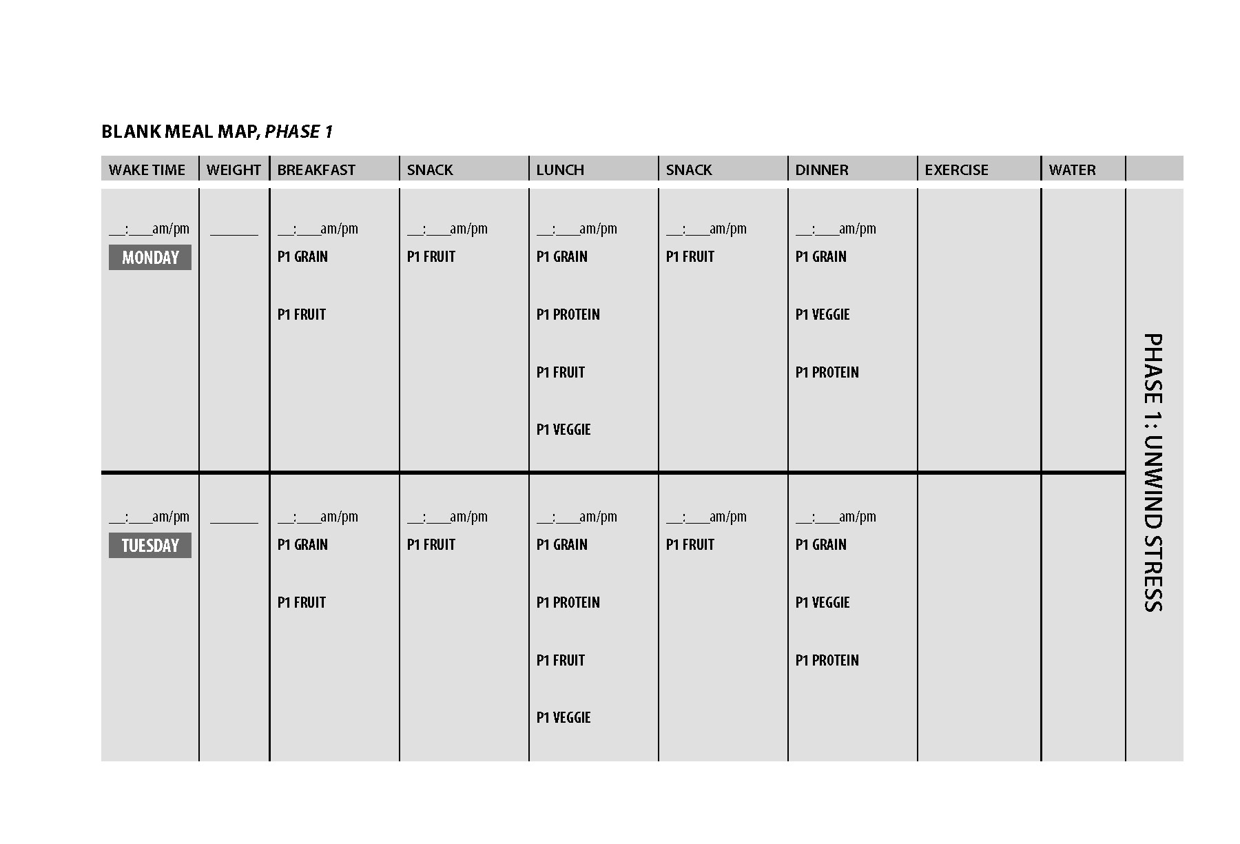 Blank Meal Plan Complete Click Here To Download As A PDF