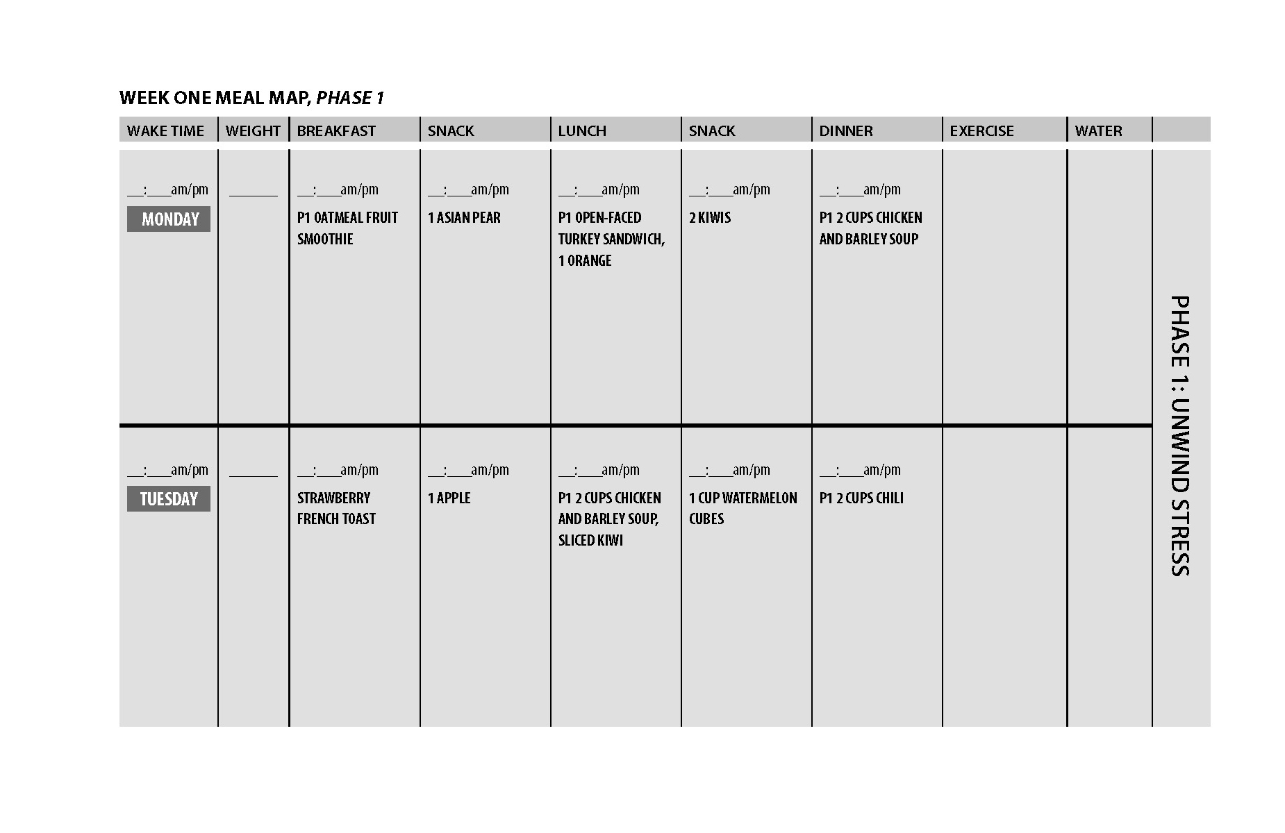 Week 1 Phase 1 Unwind Stress: Click here to download as a PDF .